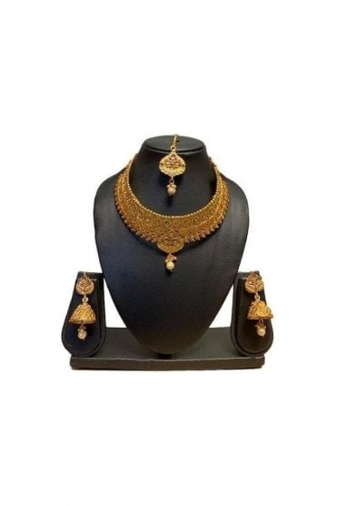 NLS19005 Antique Gold and Pearl Necklace Set with Tikka