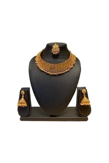 NLS19012 Antique Gold and Pearl Necklace Set with Tikka