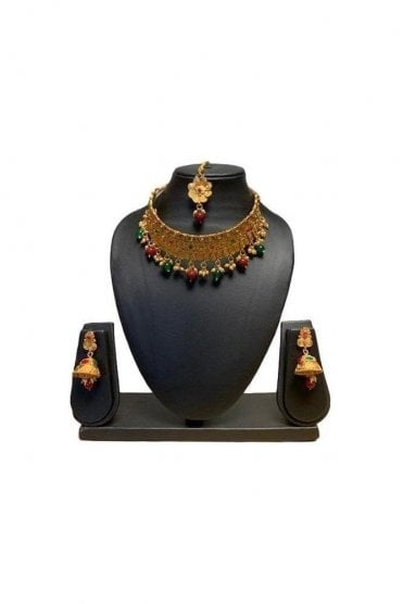 NLS19011 Red, Green and Antique Gold Mena Necklace Set with Tikka
