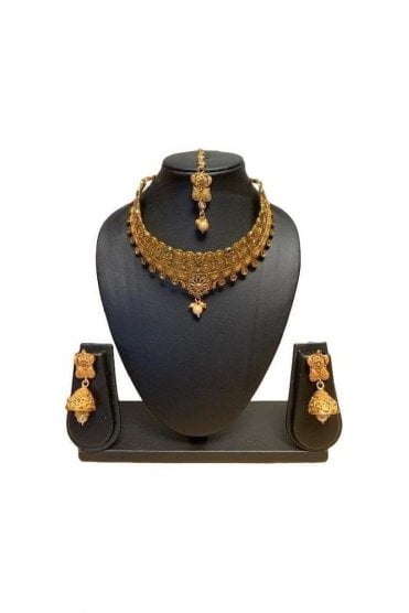 NLS19010 Antique Gold and Pearl Necklace Set with Tikka