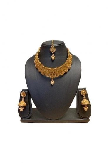 NLS19009 Antique Gold and Pearl Necklace Set with Tikka