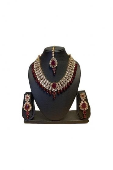 NLS19016 Stunning Maroon and Gold Kundan Necklace Set with Matching Earrings and Tikka
