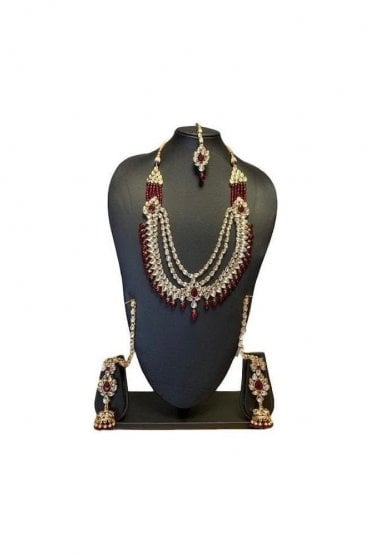 NLS19017 Timeless Maroon and Gold Kundan Bridal Wedding Necklace Set with Matching Earrings and Tikka