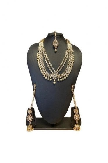 NLS19018 Classic Pearl and Gold Kundan Bridal Wedding Necklace Set with Matching Earrings and Tikka
