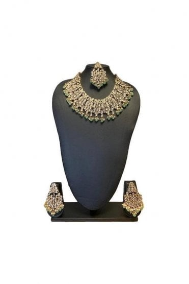 NLS19019 Elegant Sea Green and Gold Kundan Bridal Wedding Necklace Set with Matching Earrings and Tikka