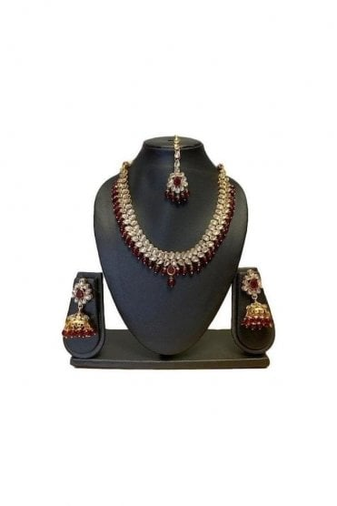 NLS19025 Timeless Maroon and Gold Kundan Necklace Set with Matching Earrings and Tikka