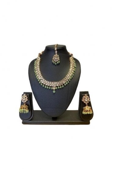 NLS19026 Classic Sea Green and Gold Kundan Necklace Set with Matching Earrings and Tikka