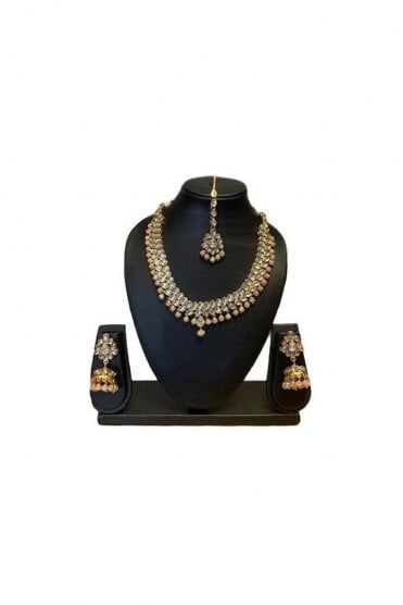NLS19028 Stunning Peach and Gold Kundan Necklace Set with Matching Earrings and Tikka