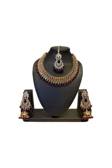 NLS19014 Classic Maroon and Gold Kundan Necklace Set with Matching Earrings and Tikka