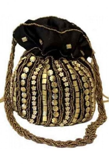 Pot_Bla Black and Antique Gold Indian Potli / Batwa Bag