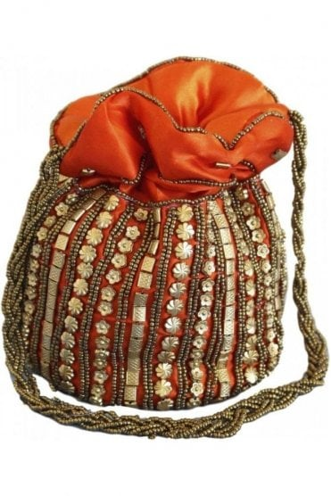 Pot_Ora Orange and Antique Gold Indian Potli / Batwa Bag