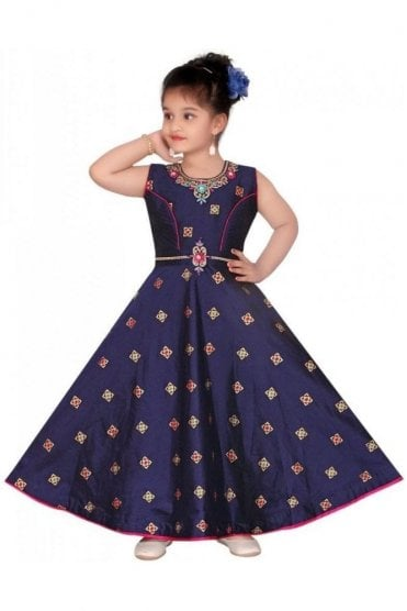 GCS19552 Navy Blue and Pink Girl's Churidar Suit