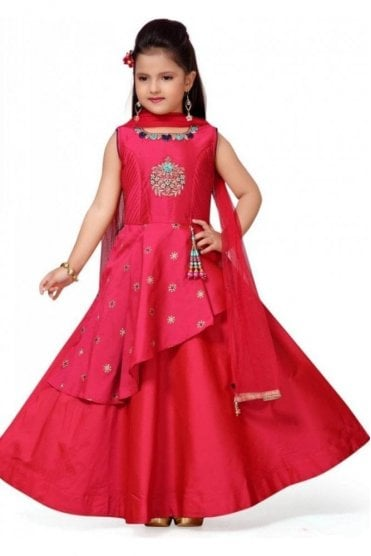 GCS19554 Pink and Blue Girl's Churidar Suit