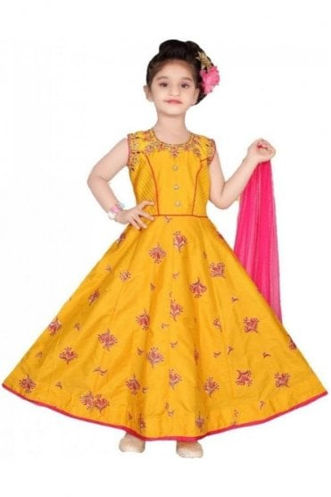 GCS19561 Mustard and Pink Girl's Churidar Suit