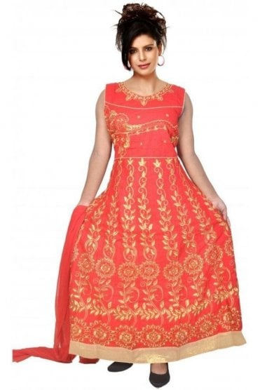 WCS19345 Red and Gold Designer Churidar Salwar Kameez