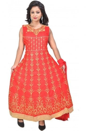 WCS19349 Red and Gold Designer Churidar Salwar Kameez