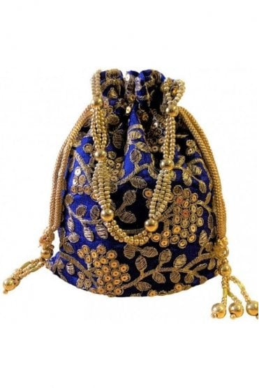 POT19002 Blue and Gold Indian Potli Batwa Dolly Bag