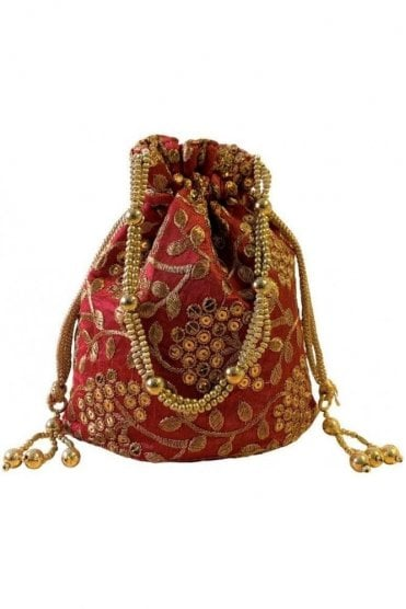 POT19003 Red and Gold Indian Potli Batwa Dolly Bag