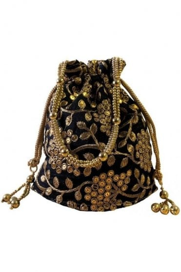 POT19001 Black and Gold Indian Potli Batwa Dolly Bag