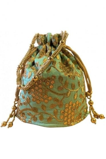 POT19004 Sea Green and Gold Indian Potli Batwa Dolly Bag