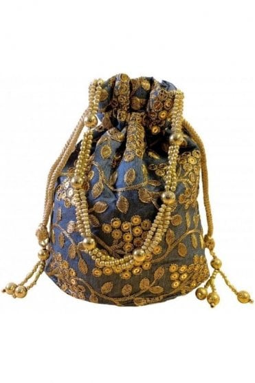 POT19005 Grey and Gold Indian Potli Batwa Dolly Bag