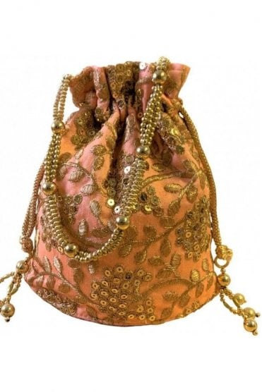 POT19006 Peach and Gold Indian Potli Batwa Dolly Bag