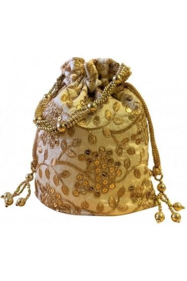 POT19007 Cream and Gold Indian Potli Batwa Dolly Bag