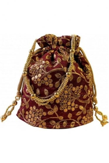 POT19008 Maroon and Gold Indian Potli Batwa Dolly Bag