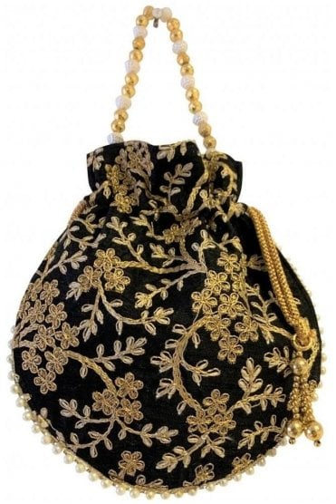 POT19010 Black and Gold Indian Potli Batwa Dolly Bag