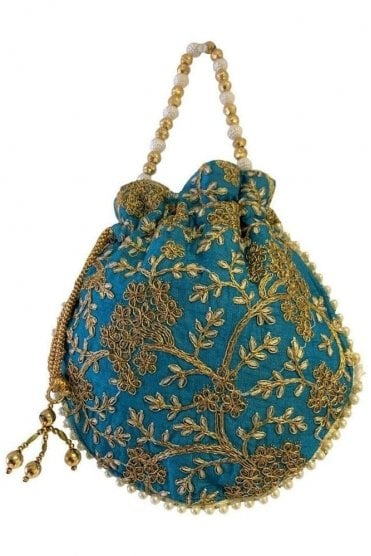 POT19012 Turquoise Blue and Gold Indian Potli Batwa Dolly Bag