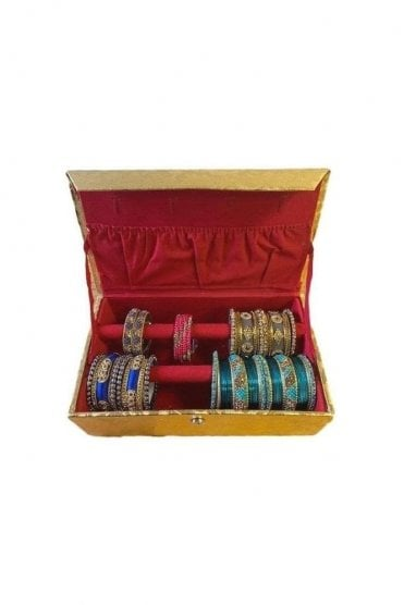 BAB19001 Gold and Paisley Design Indian Ethnic 2 Rolls (2-Bars) Bangle Jewellery Box