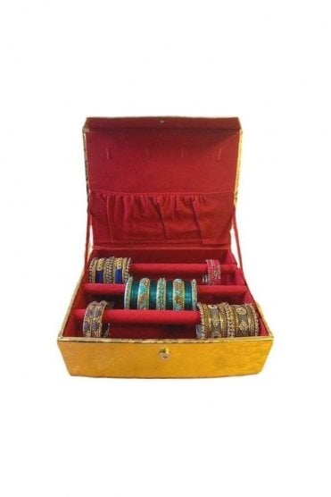BAB19003 Gold and Paisley Design Indian Ethnic 3 Rolls (3-Bars) Bangle Jewellery Box