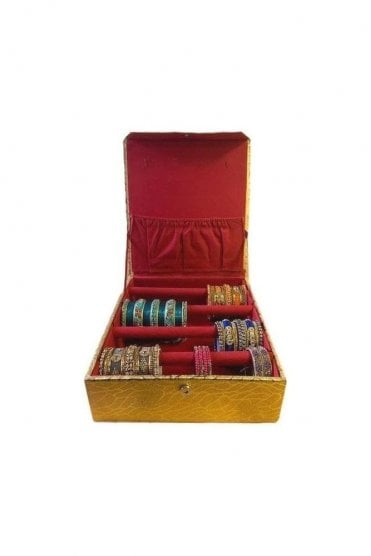 BAB19006 Gold and Paisley Design Indian Ethnic 4 Rolls (4-Bars) Bangle Jewellery Box