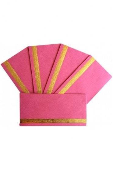 E19_PIN Pack of 5 Pink and Gold Shagun Envelope Money Wallet