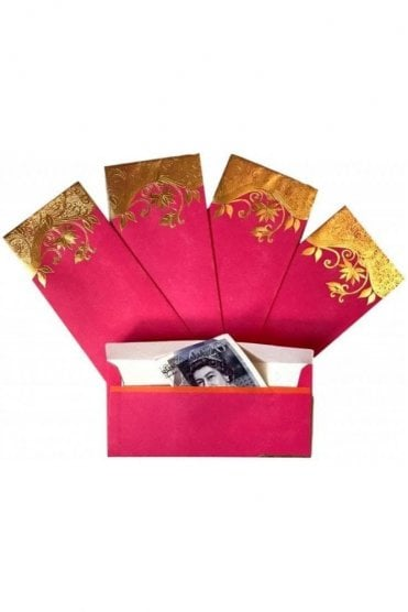 E30_PIN Pack of 5 Pink and Gold Shagun Envelope Money Wallet