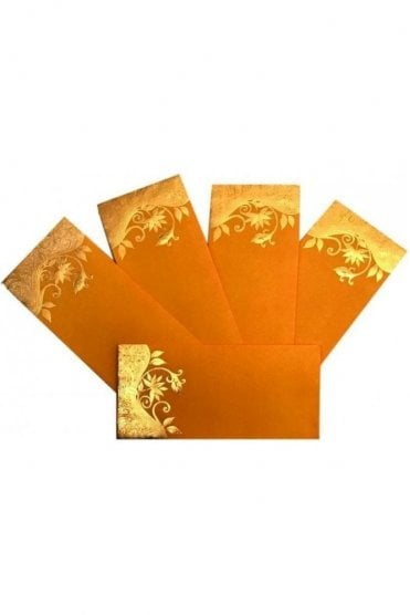 E30_YEL Pack of 5 Yellow and Gold Shagun Envelope Money Wallet