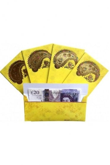 E101_LIM Pack of 5 Lime and Gold Shagun Envelope Money Wallet