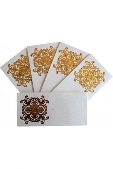 E110_IVO Pack of 5 Ivory and Gold Shagun Envelope Money Wallet