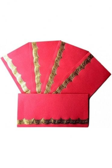 E112_RED Pack of 5 Red and Gold Shagun Envelope Money Wallet