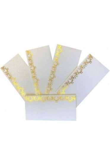 E133_IVO Pack of 5 Ivory and Gold Shagun Envelope Money Wallet