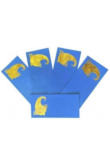 E137_TUR Pack of 5 Turquoise and Gold Shagun Envelope Money Wallet