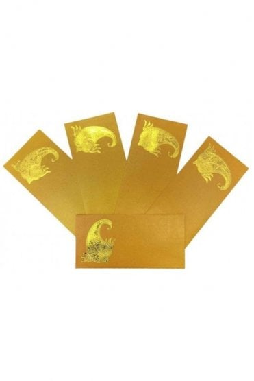 E140_MYE Pack of 5 Yellow and Gold Shagun Envelope Money Wallet