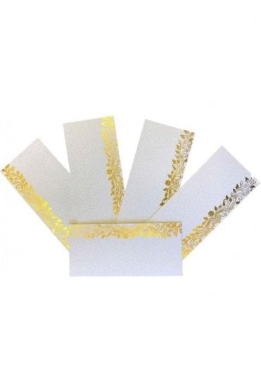 E146_IVO Pack of 5 Ivory and Gold Shagun Envelope Money Wallet