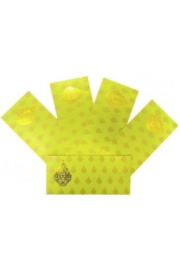 E152_LIM Pack of 5 Lime and Gold Shagun Envelope Money Wallet