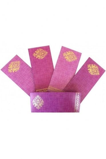 E153_PUR Pack of 5 Purple and Gold Shagun Envelope Money Wallet