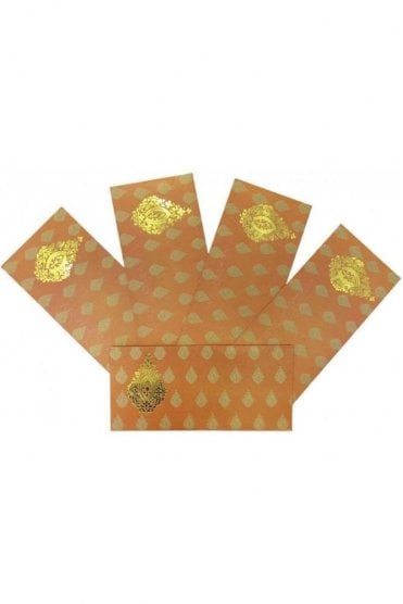 E154_ORA Pack of 5 Orange and Gold Shagun Envelope Money Wallet