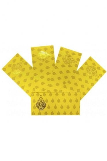 E155_YEL Pack of 5 Yellow and Gold Shagun Envelope Money Wallet