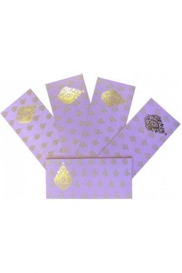 E158_LPI Pack of 5 Light Purple and Gold Shagun Envelope Money Wallet