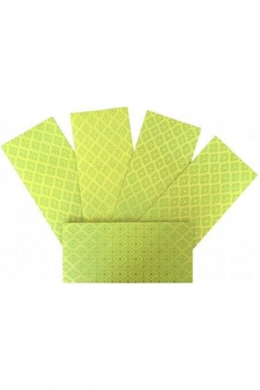 E172_LIM Pack of 5 Lime and Gold Shagun Envelope Money Wallet