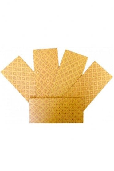 E176_MYE Pack of 5 Mustard Yellow and Gold Shagun Envelope Money Wallet